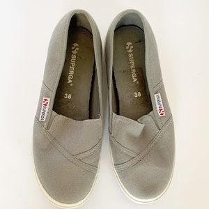Superga slip on canvas shoes size 8 (38) grey